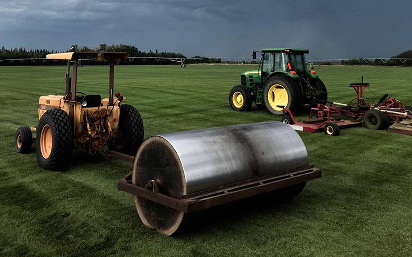 Big Roller on Turf Grass Field