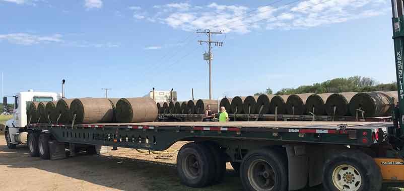Big sod rolls on truck